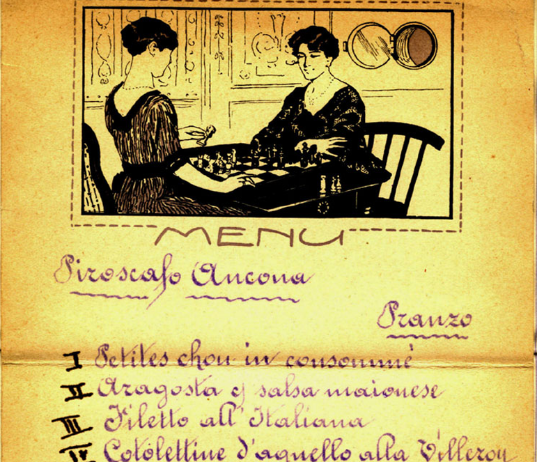 scan of two women sitting at a table on a menu