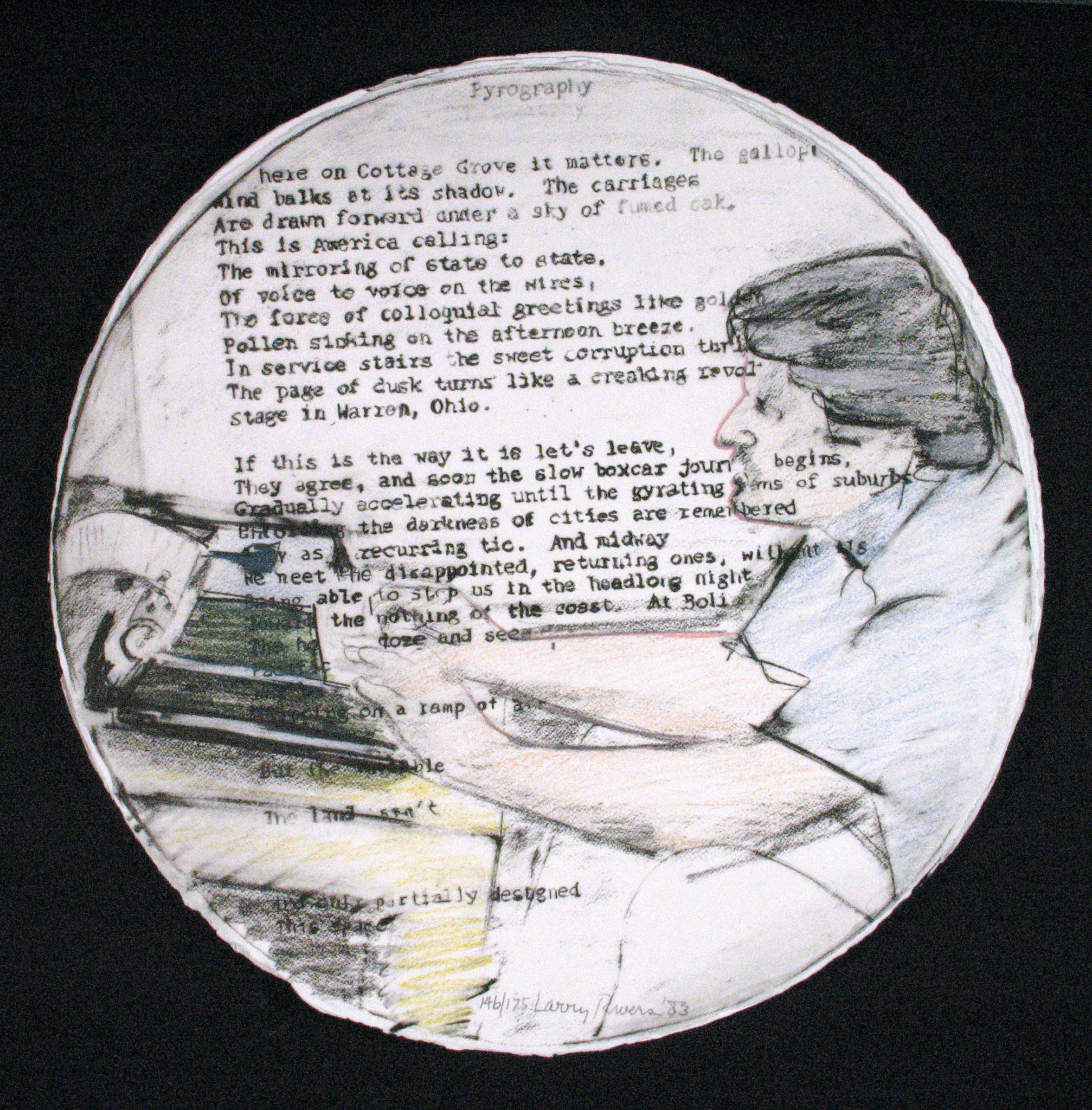 Portrait of John Ashbery at typewriter