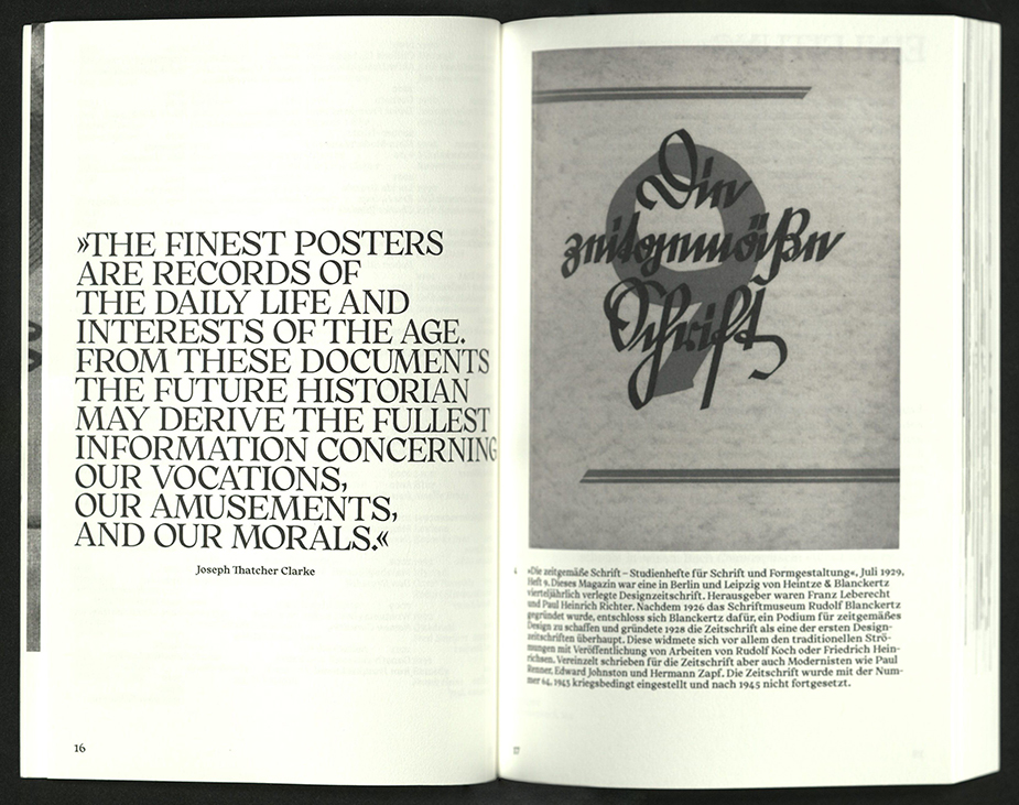 spread with quote on left, type example on right