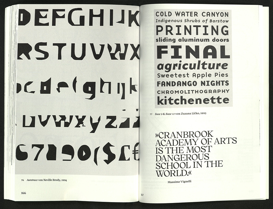 spread of typeface and quote