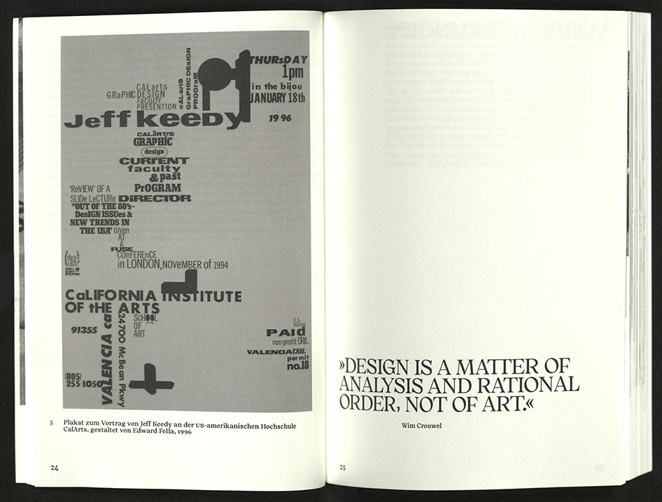 spread with full-page type example on left, quote on right