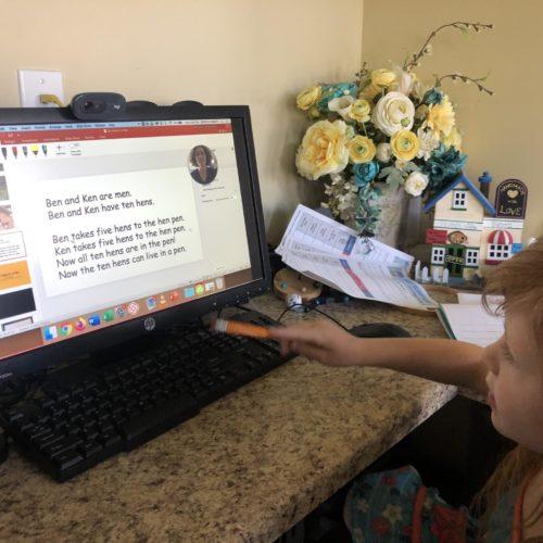 Lily Myntti attending online kindergarten