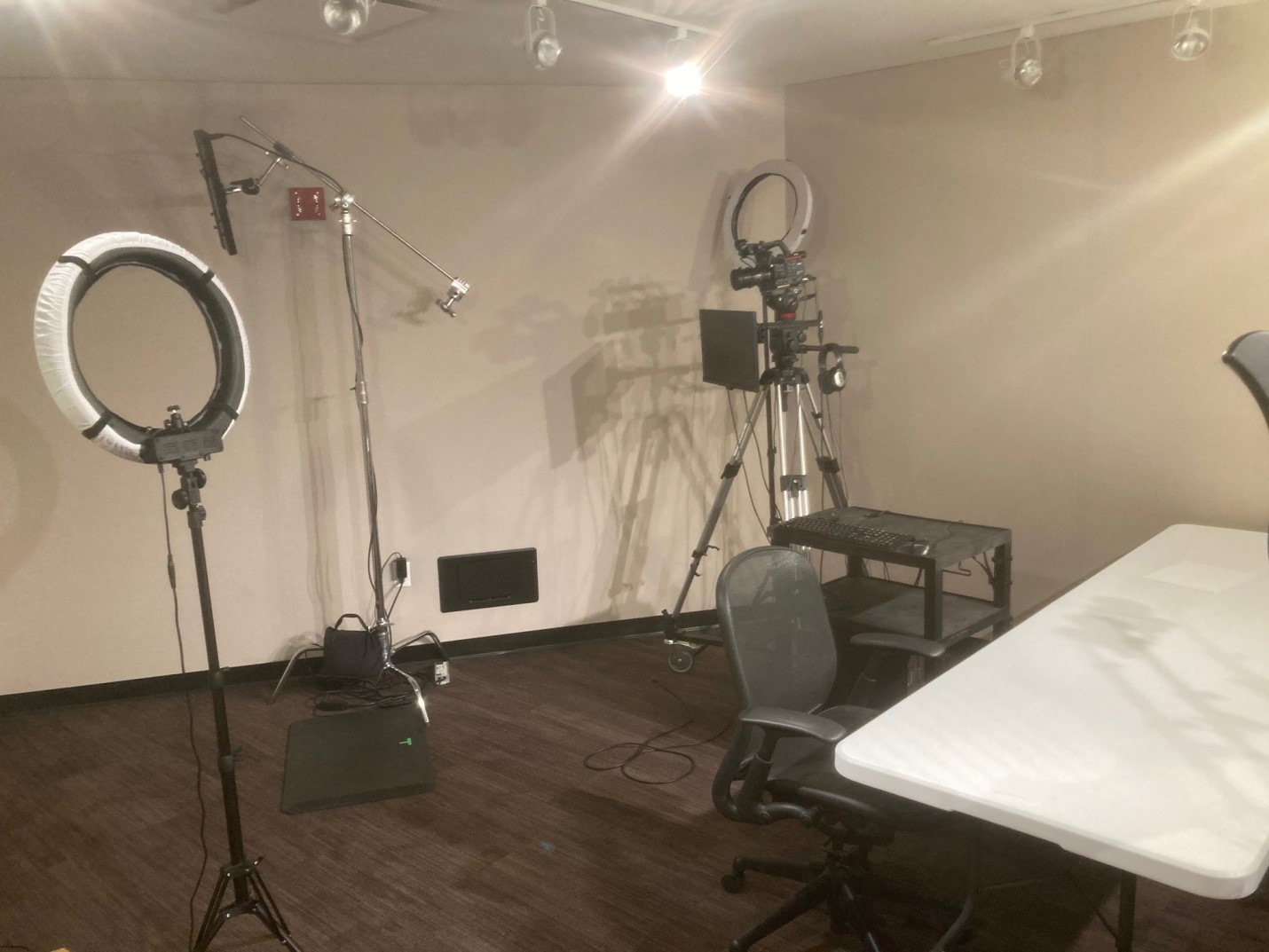 An image of the audio studio podcasting set-up