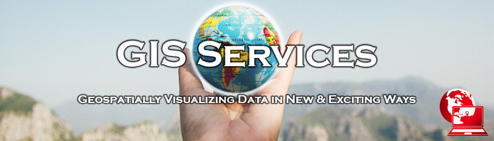 Banner for GIS Services featuring a hand holding a small model of the Earth.