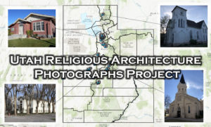 Image of Utah with icons representing the Utah Religious Architecture Photographs Project