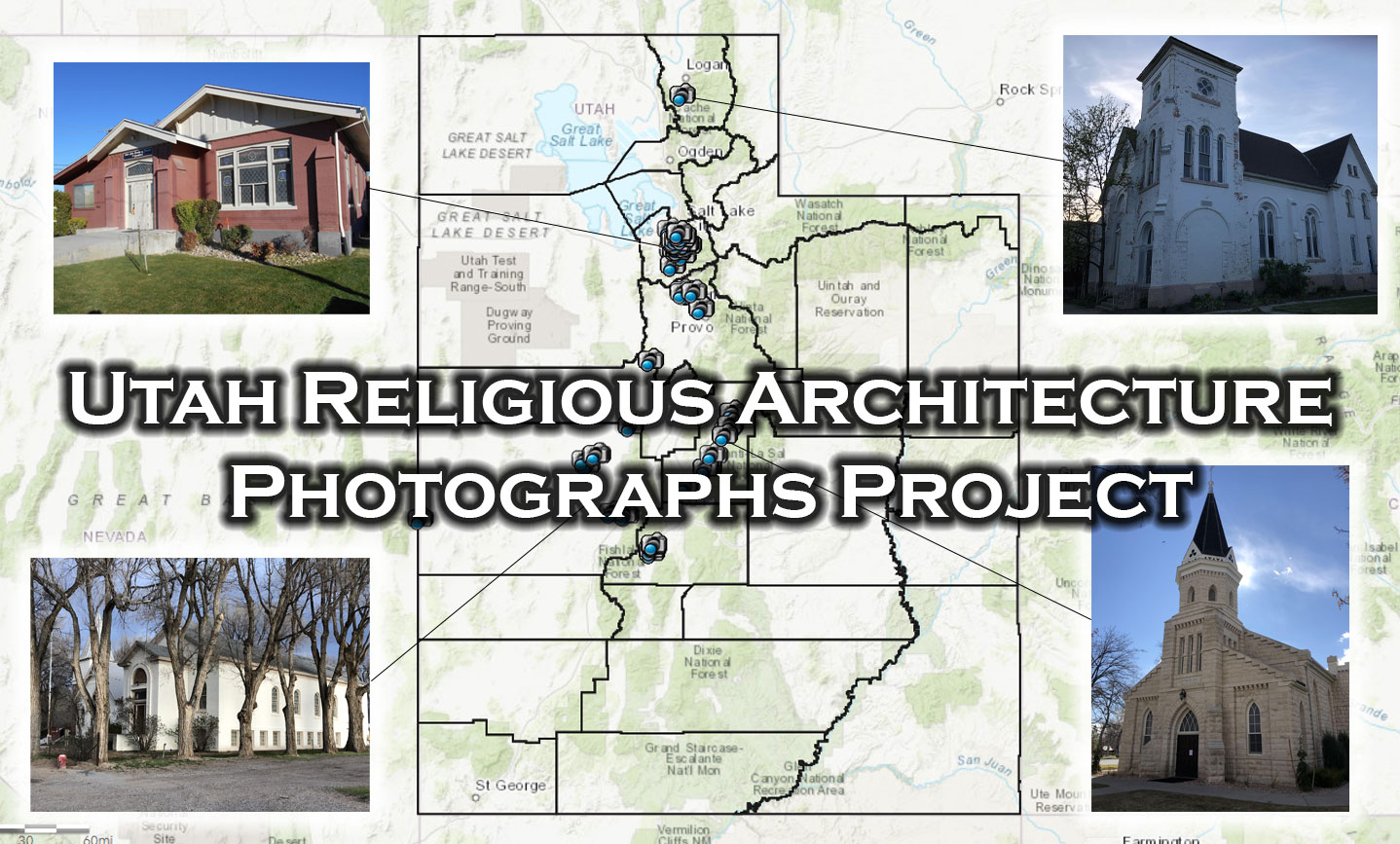 Image of Utah with icons representing photograph locations associated with the Utah Religious Architecture Photographs Project.