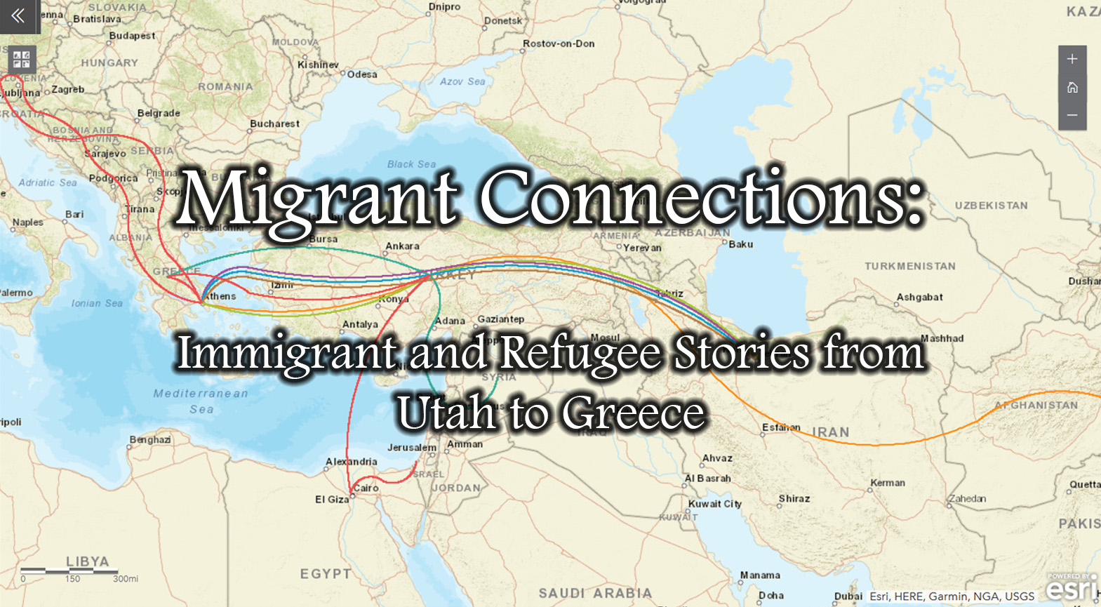 Image depicting routes described in interviews associated with the Migrant Connections project