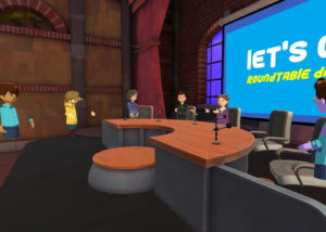 Image of CrIS team members having a discussion in AltSpace VR