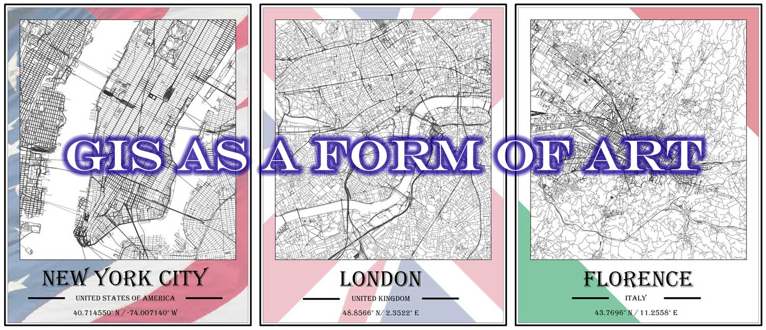 Compilation of 3 maps representing the GIS as Art Map Monday release from GIS Services.