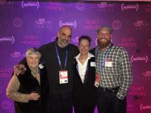Film and media arts librarian Greg Hatch at the premiere of Quiet Heroes.
