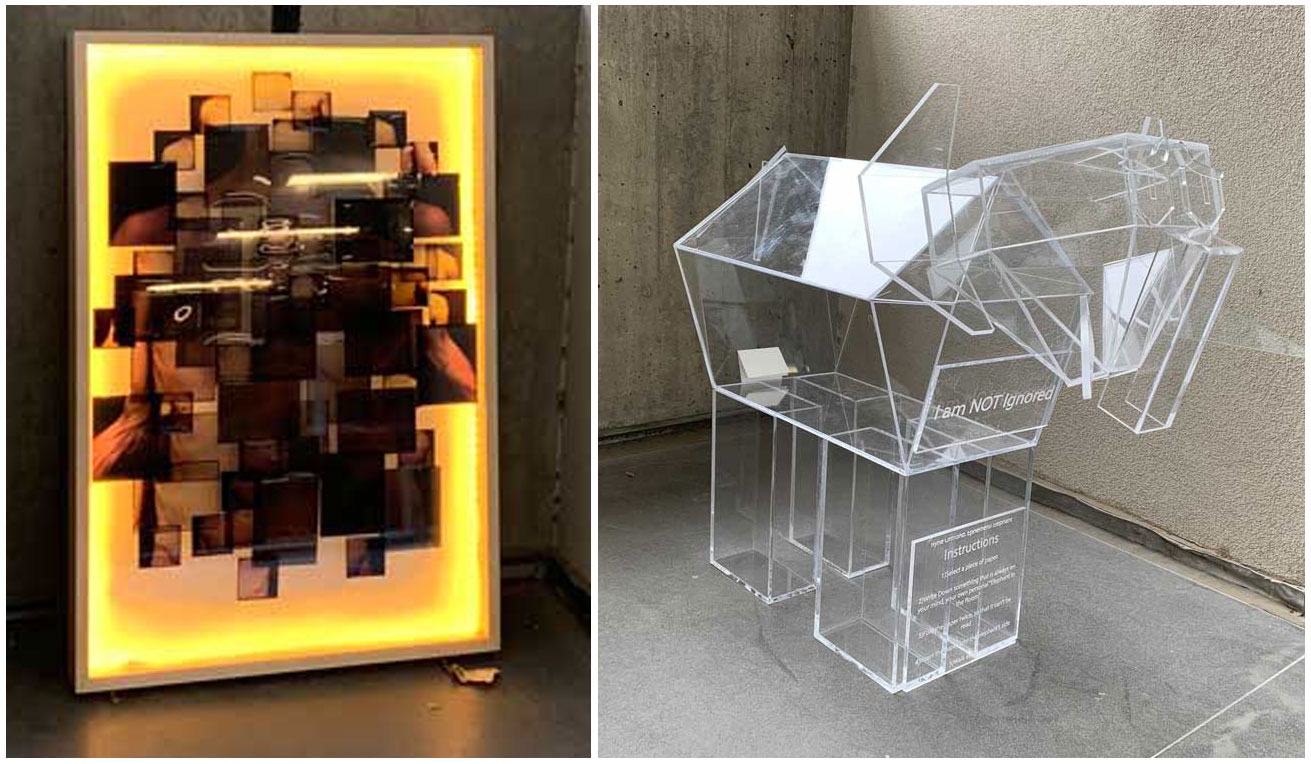 Image of two new student art pieces on display in Katherine's Courtyard at the Marriott Library.