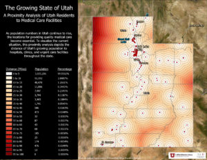 A map depicting proximity of Utah's population to medical care facilities at various distance intervals.