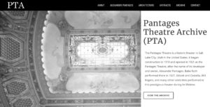 Screenshot of the Pantages Theater Archive website.