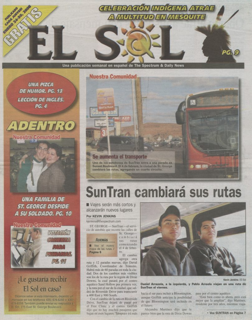 Front page of El Sol issue