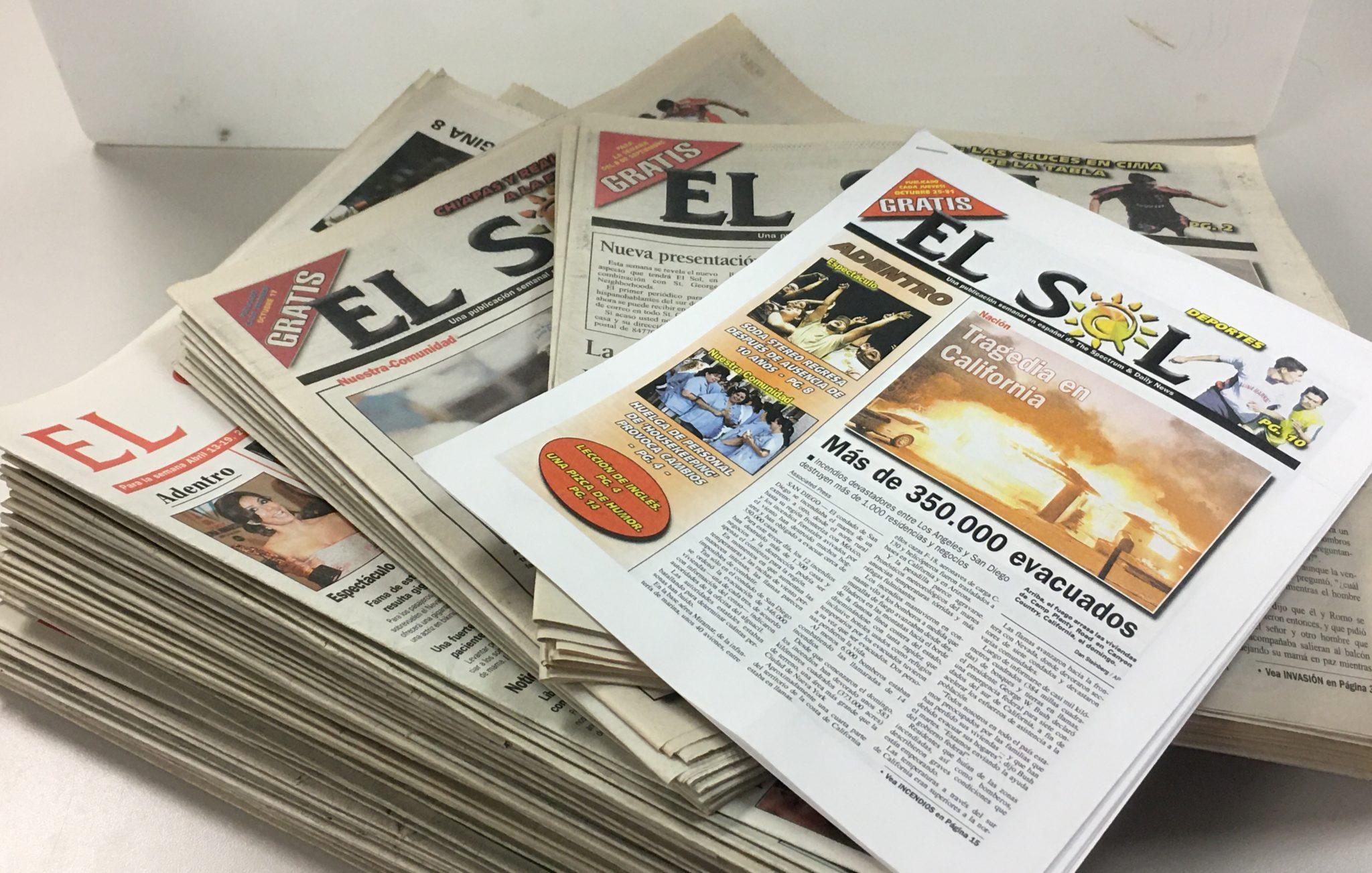 Pile of El Sol newspaper issues