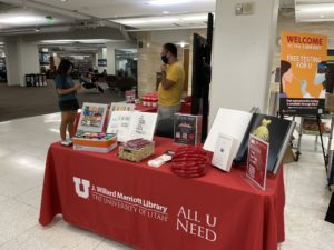 Image of the Fine Arts & Architecture table on display at Library Fest.