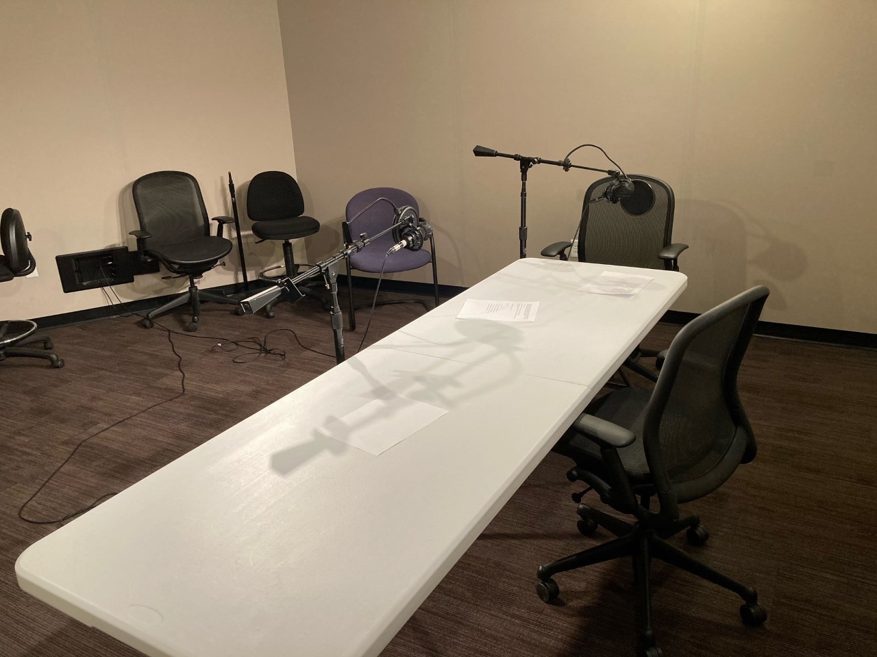 A view inside the audio recording studio located at the Marriott Library in suite 1705.